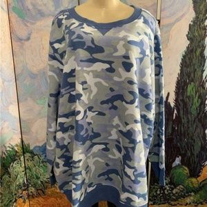 Woman Within Blue Camo Print Crew Neck Tunic Top